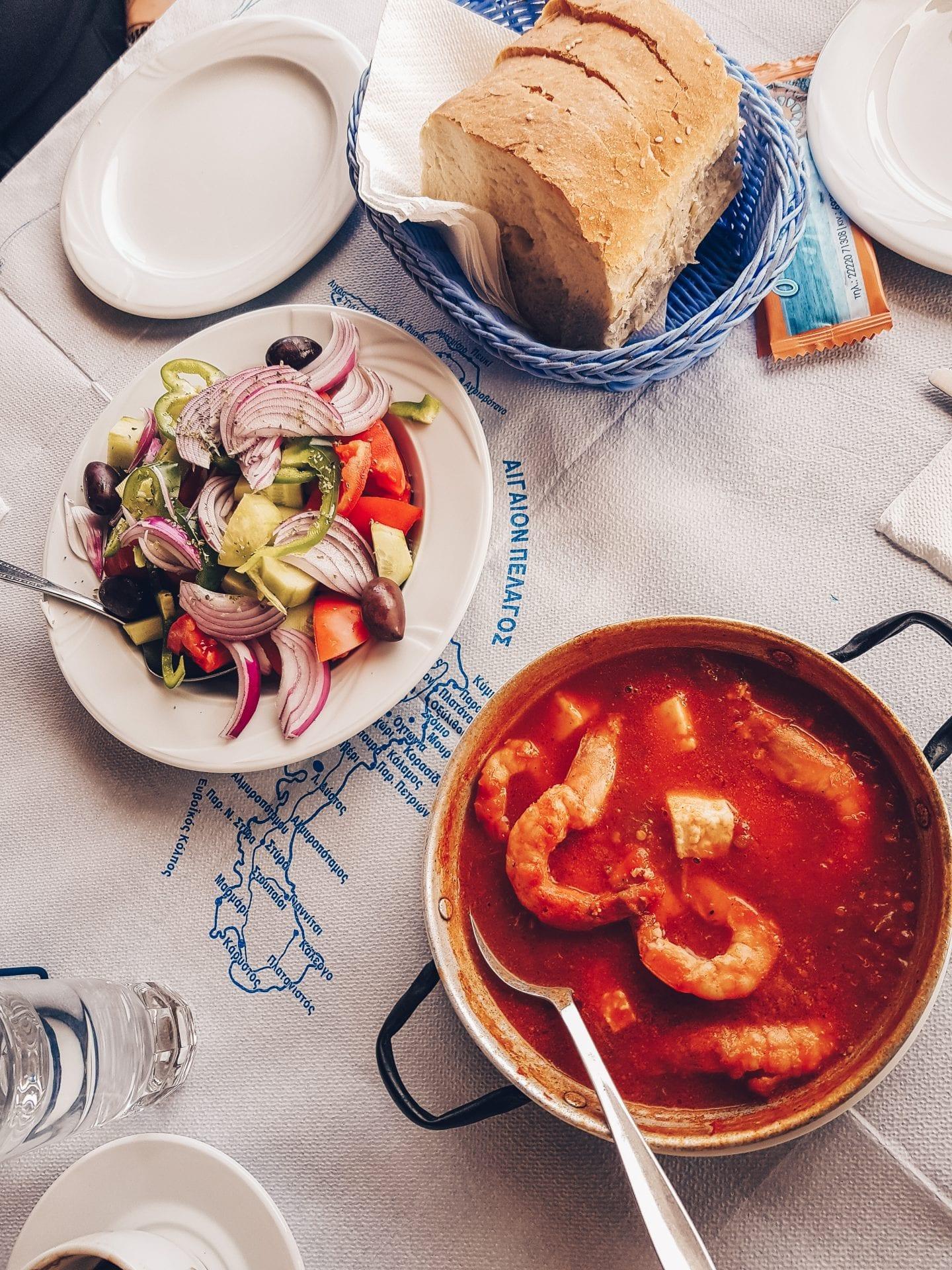 greek food on table