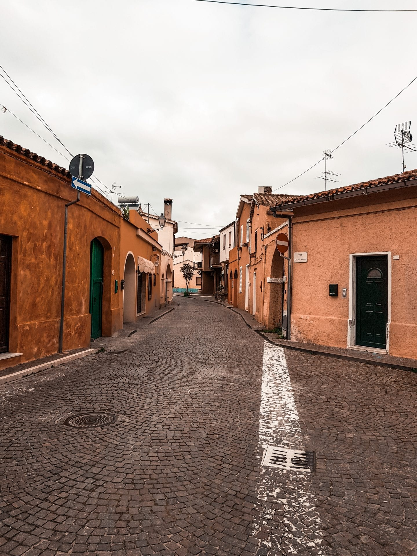 small street in pula, sardegna