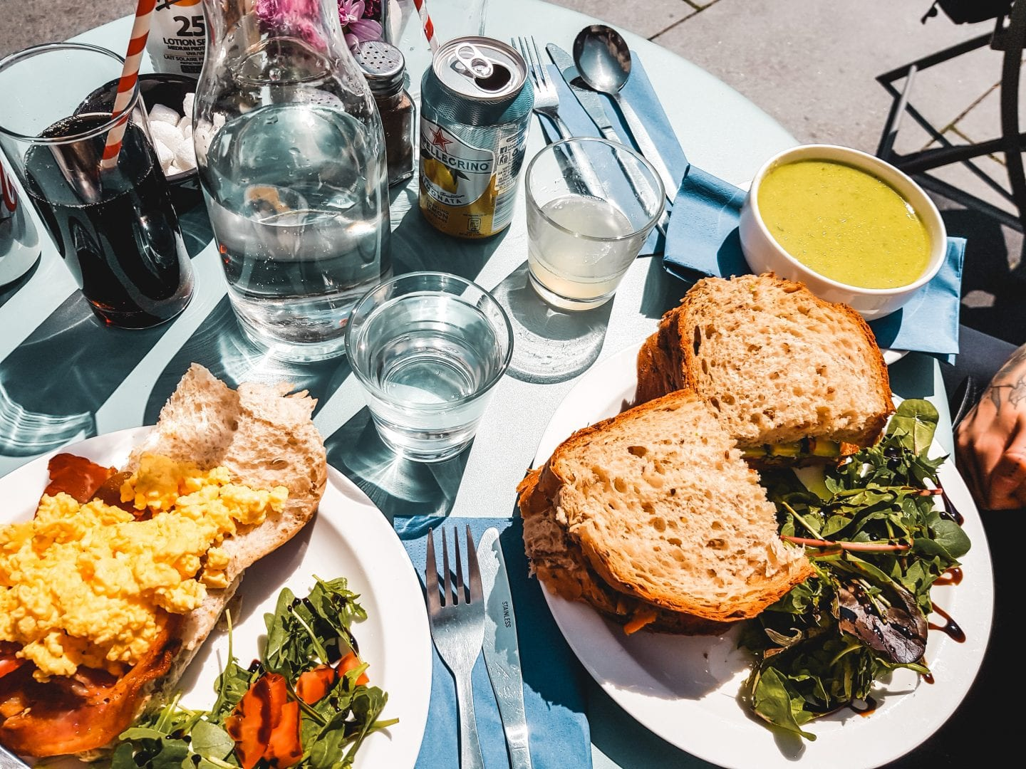 lunch: sandwiches and soup in the sun