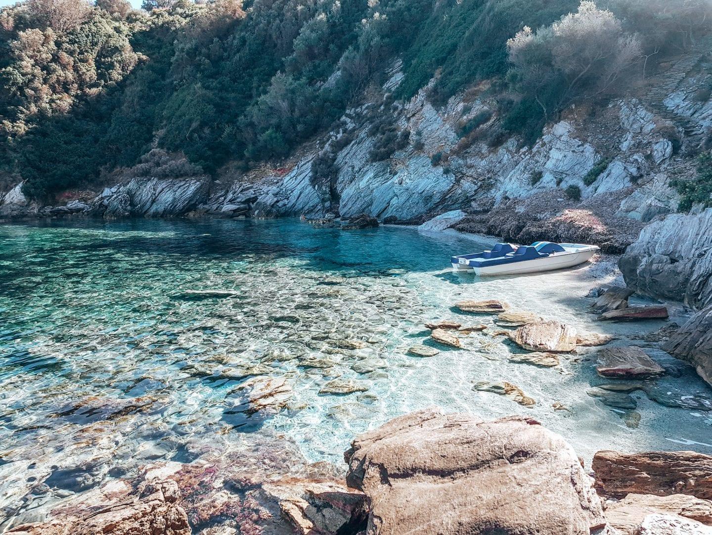 small boat on coast