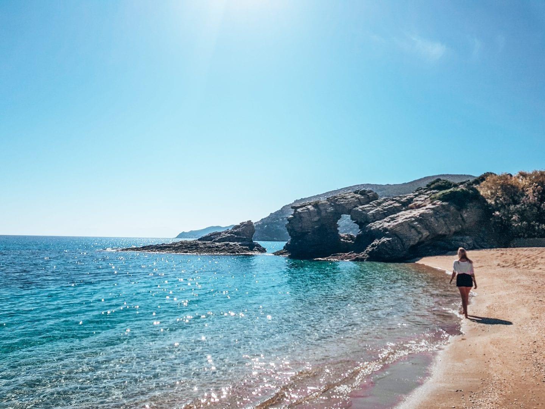 girl walking beach greece