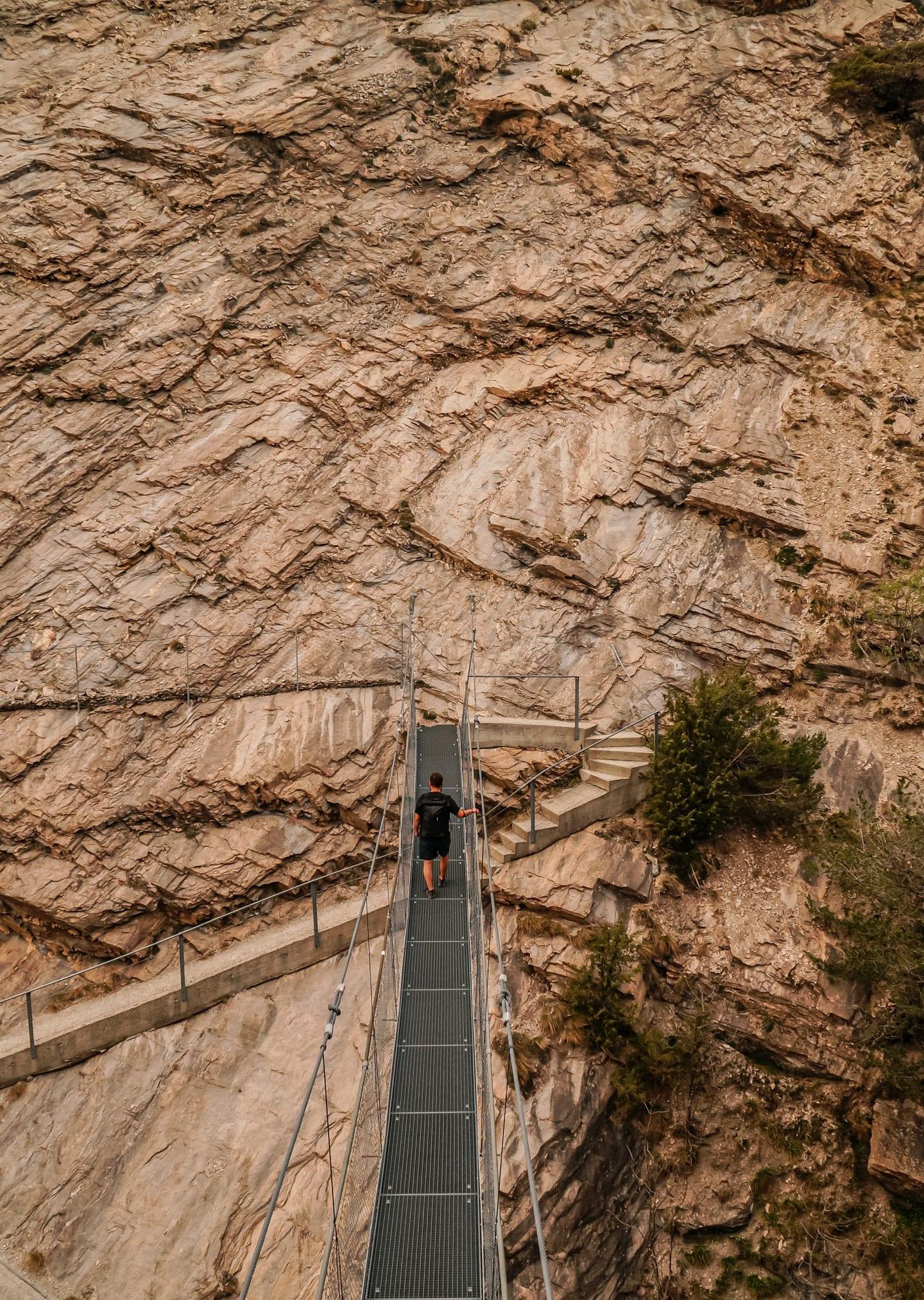 suspension bridge in wallis, switzerland