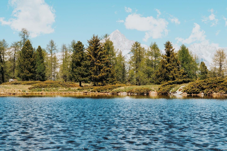 lake moosalp region wallis, switzerland bietschhorn