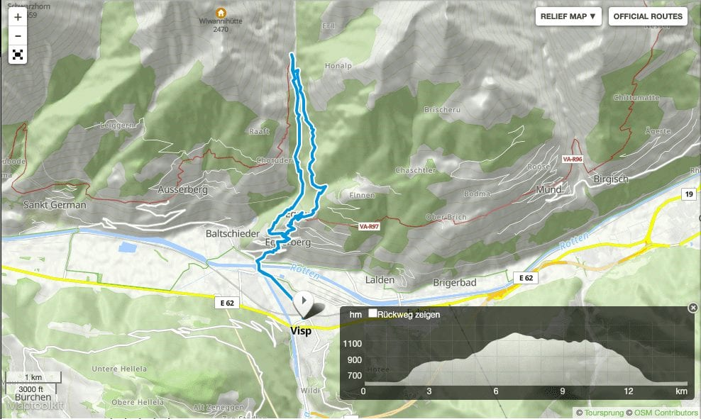 Hiking Wallis: Baltschiedertal Map