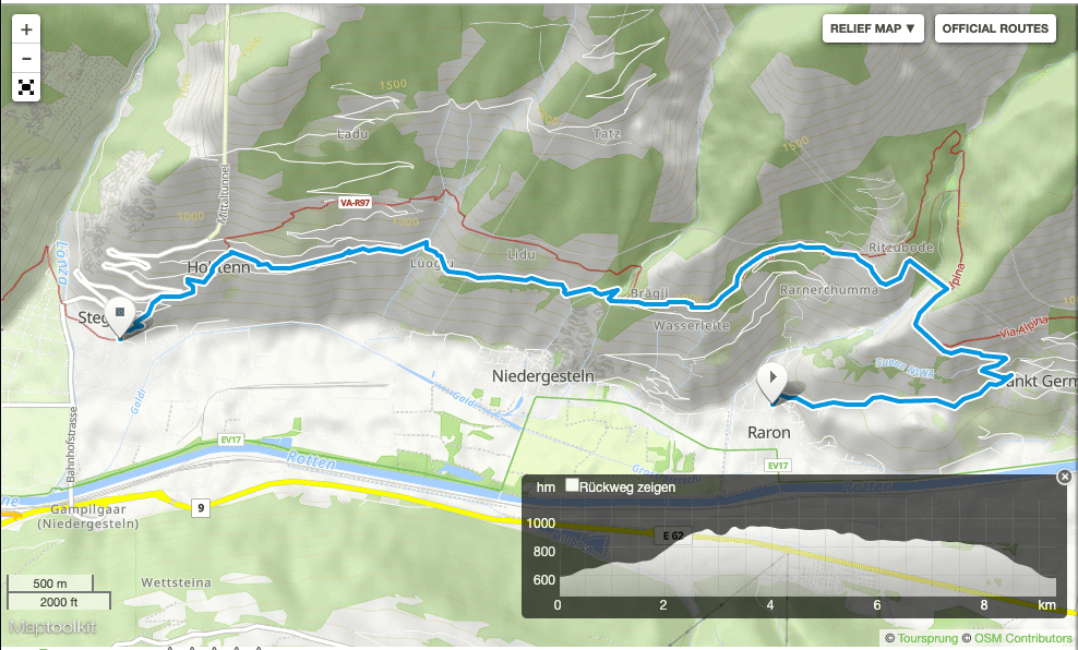 Wandern im Wallis: Karte Raron Gampel-Steg