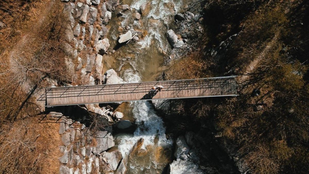 Short bridge in Baltschiedertal over Baltschiederbach in Wallis, Switzerland