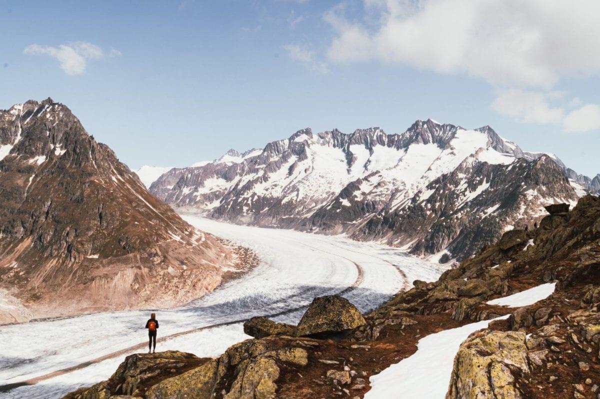 Hiking at Grosser Aletschgletscher in Wallis, Switzerland