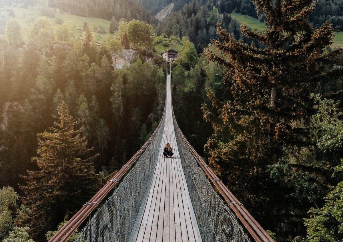 Die GOMS Bridge im Morgenlicht, Wallis, Schweiz