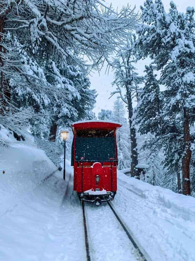 Eine kleine Rote Tram fährt durch einen Winterwald zum Riffelalp Resort