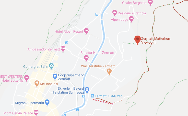 google maps viewpoint auf das matterhorn zermatt